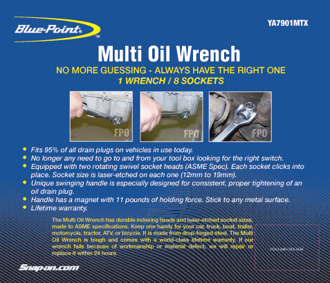Multi Oil Wrench tube label for Blue-Point